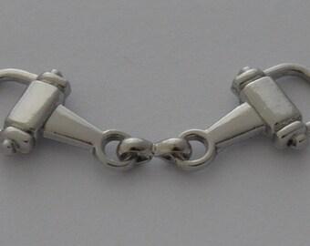 2 connectors 4, 8 x 1, 3cm Matt Silver Horse bit