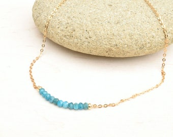 Apatite necklace, Bar necklace, Minimalist jewelry, Gold filled necklace, Gift for her, Dainty necklace, Apatite jewelry, Layering necklace