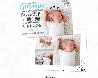 Typography Baby Announcement - Birth Announcement - Announcement Template - Birth Card - Birth Template - Photoshop Instant Download