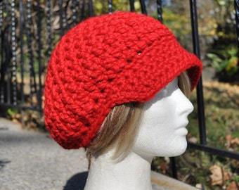 Red Newsboy Crochet Hat in Wool / Acrylic Blend - Red Hat - Woman's Hat with Brim - Chunky Knits - Ready to Ship