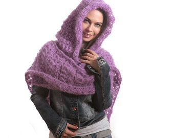 Mohair Extra Long Hooded Scarf, Purple Violet Scarf with Hood by Solandia, Hand Knit Luxury Gift, Women Fashion