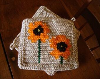 MADE TO ORDER Orange Poppy Poppies Potholders, Flower Kitchen Decor, Hot Pad, Pot Holders Trivet Set of Two, Light Brown Mothers Day Gift
