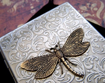 Dragonfly Cigarette Case Vintage Style Gothic Victorian Cigarette Case Floral Pattern Art Nouveau Steampunk Card Case Brass Dragonfly Case