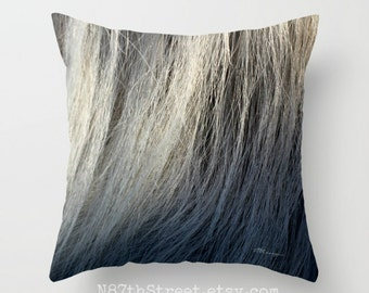 """HORSE HAIR 16"""" X 16"""" Pillow Cover. Photo Art by TMCdesigns. Abstract. Nuetral Greys, Taupe, Off white. Horses. Equestrian. Home Decor. Cool!"""