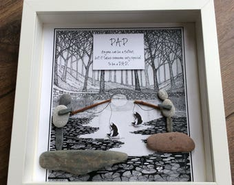 Pebble Art Dad, gift for dad, birthday gift for dad, Fathers Day Gift, gift for him, fishing art, gift for grandad, xmas gift for dad,