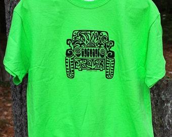 JEEP Tribal Tattoo T-Shirt  - Lime Green