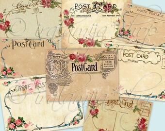 POST CARDS Printable Digital Images printable download / Vintage Postcards / Printable Postcards / Paper / Scrapbook / Postcards / Post card