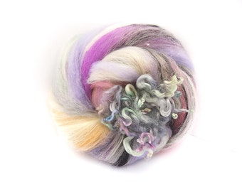Art Batt / Spinning Fiber - Superwash BFL and Vegan Cashmere - Crazy Soft