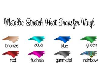 "SALE!! Metallic HTV - 12x14"" Sheets Stretch Metallic Heat Transfer Vinyl Pick Your Color!"