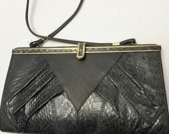 Snakeskin Handbag, Gray Snakeskin purse, Grey Snakeskin bag