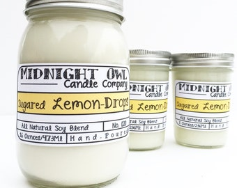 Sugared Lemon Drops Mason Jar Candle 8oz or 16oz, soy candle, lemon scents, Midnight Owl Candle Company, lemon, spring candle, fresh, clean