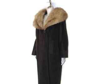 50s Wool Coat Fur Collar Brown Wool Coat Brown Winter Coat Fur Trim Coat Brown Dress Coat Womans Winter Coat Made in Holland 1950s Long Coat