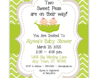 Baby Shower Invitation, Two Sweet Peas Baby Shower Invitation, Twin Girls Sweet Pea Invite, CUSTOM 4x6 or 5x7 size - YOU PRINT