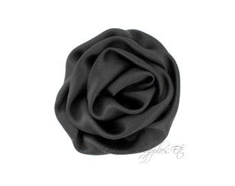 Black Elegant Rosette Satin Flowers 3 inch Set of 2 - Black Satin Flowers, Black Rosettes, Black Flowers for Hair, Black Hair Flowers
