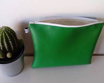clutch faux green leather 28 x 22 cm