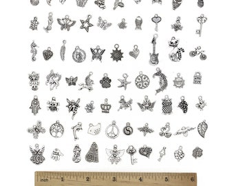 Wholesale charms etsy assorted charms set antiqued silver charms silver pendants mixed charms wholesale charms bulk charms 100pcs aloadofball Images