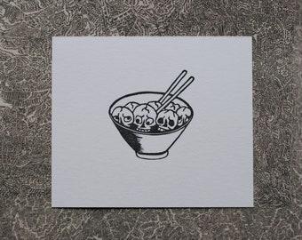Original block print art hand printed A bowl of skulls