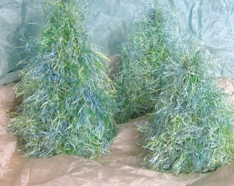 Knitted Pine Trees - Blue and Green