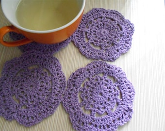 Set of 4 Vintage Flower Hand Crocheted Cotton Coasters