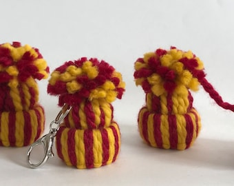 Maroon Dark Red Gold Yellow Mini Hat Keychain OR Bookmark OR Ornament Sold Separately