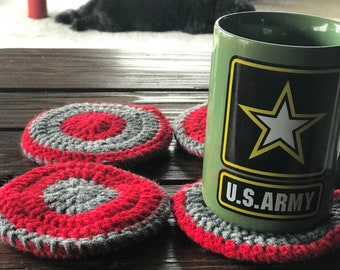 Scarlet and gray coasters