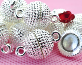 10 Sets of Silver plated Magnetic Clasp in 12mm