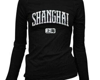 Women's Shanghai China Long Sleeve Tee - S M L XL 2x - Ladies' Shanghai T-shirt, Chinese - 3 Colors