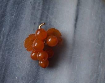 Vintage Russian Amber grape brooch