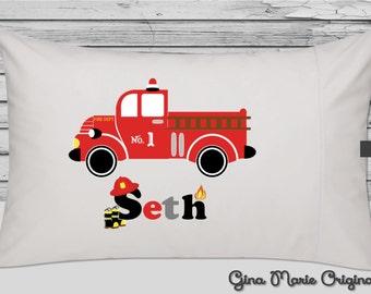 Personalized Pillow Case Pillowcase Firetruck Fire Engine Fireman Firefighter Toddler Kids Children Baby Birthday Christmas Gift Bedding