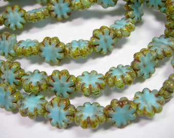25 beads -Cactus Flower Blue Picasso Czech Glass Flower Beads 9mm
