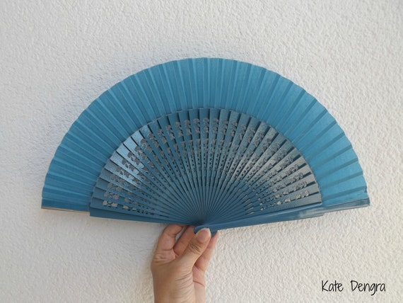 Std Fret Blue Wooden Hand Fan