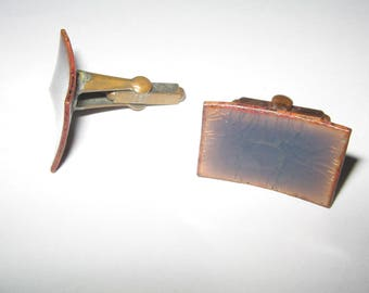 old Copper Cufflinks Vintage Costume Jewelry #1031