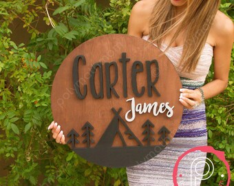 "18"" Round Teepee Custom Name Wood Sign 
