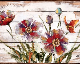 FLEUR ROUGE - Oil Painting on a Wood Surface (Siberian Fir) with 3-D Multi Media Elements
