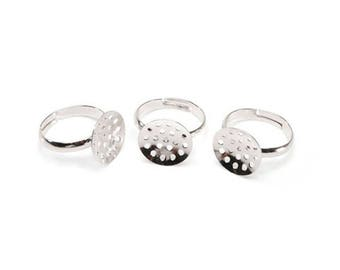 Beadable Ring - Silver - 17 x 14mm - Adjustable - 3 Pieces (dar200199)