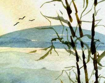 Original Watercolor ACEO Art Card, Wilderness, Sunrise, Tree Branches, Country, Mountain, Miniature OOAK Painting
