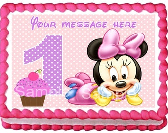BABY MINNIE MOUSE Edible cake topper 1st year party
