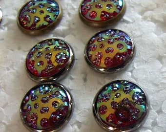 Color changing Drusy Resin  12 mm Post Earrings