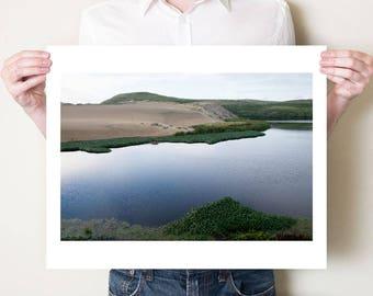 Coastal lagoon landscape photography print, Point Reyes California photograph. Oversize fine art photograph Pacific coast home decor artwork