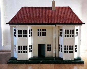 Vintage 1950s Tin Plate and Wooden English Doll's House