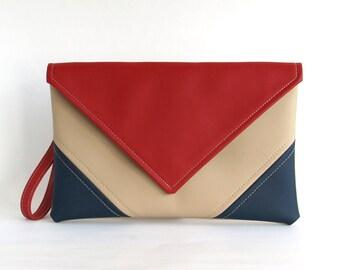 Wristlet Bag Navy Red Clutch Bag Envelope Handbag Navy Blue Clutch Purse Vegan Leather Handbag Evening Bag Gifts For Women Bridesmaid Clutch
