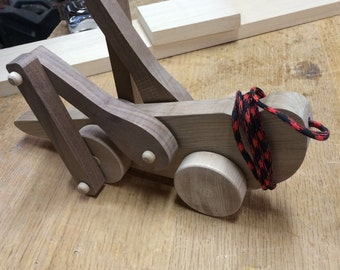 Handcrafted Wood Grasshopper Pull Toy
