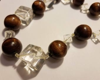 Miriam Haskell Wood Lucite Delight Beaded Necklace