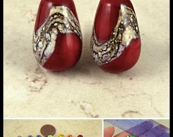 Teardrop Lampwork Glass Bead Pair with Organic Web Small Red