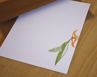 Hummingbird Stationery Set - Bird Note Cards - Hummingbird Hand Printed Stationery - Set of 6