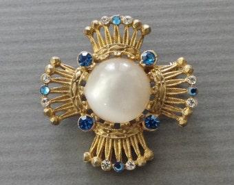 Vintage Blue Rhinestone Faux Pearl Pin Brooch