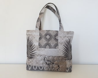 the patterned tote bag ethnic shades of beige
