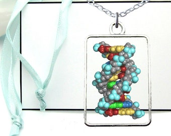 DNA Necklace, Human Gnome, Chromosome Pendant, Transparent Resin Jewelry, Silver Plated, Gift for Dad