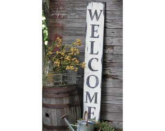 Welcome Sign, White Handpainted on Rustic Wood