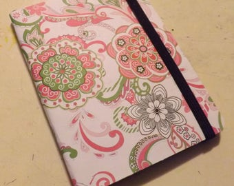 Mini Blank Lined Page Book- Pretty in pink and green.